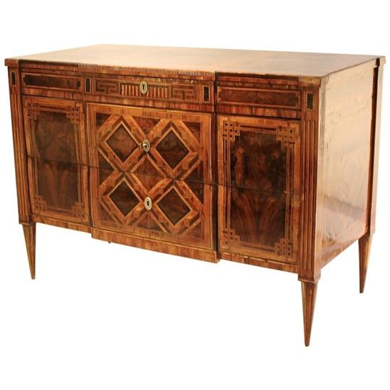 18th Century Louis XVI Chest of Drawers in Walnut Marquetry, Naples, Italy
