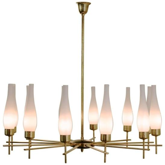 1960s Italian Chandelier in Brass and Opaline Glass