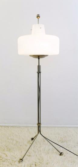 1960's Opaline and chrome floor lamp
