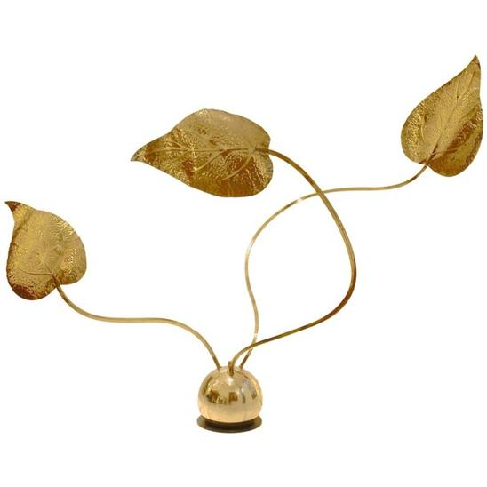 1970's Modulable Leaf-Shaped Brass Lamp Designed By Tommaso Barbi, Italy