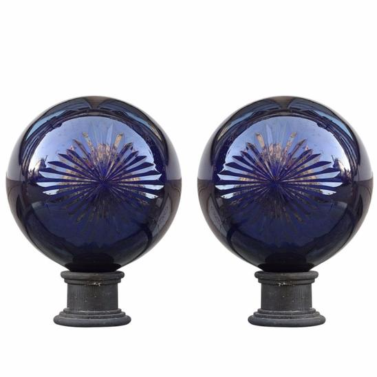 Apothecary Balls in Cobalt Blue Cut Crystal -10 available