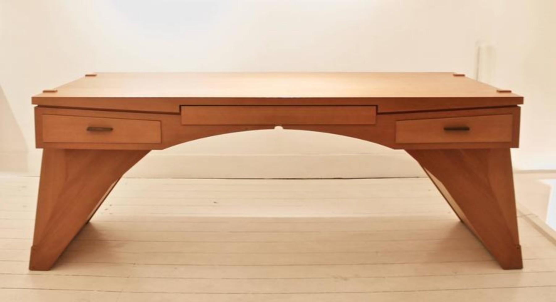 Arch Bridge Late 20th Century Constructivist Desk In Pear Wood Ed Weinberger Furniture