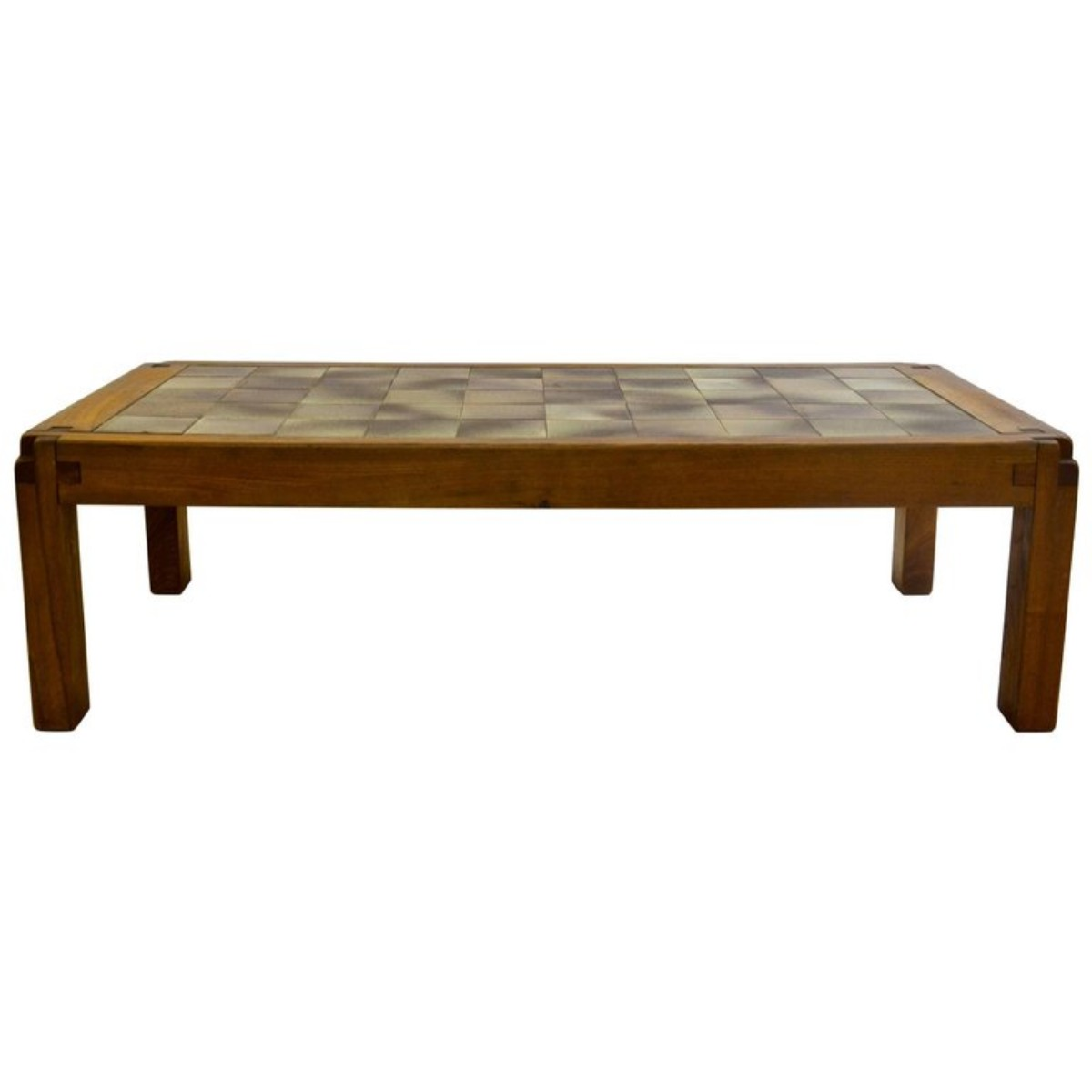 coffee table in ceramic and elm by french designer pierre. Black Bedroom Furniture Sets. Home Design Ideas