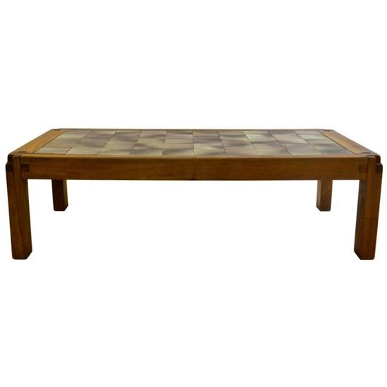 Coffee Table in Ceramic and Elm by French Designer Pierre Chapo, circa 1965