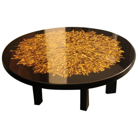 Coffee Table in Tiger Eye Stone and Black Resin Signed Etienne Allemeersch