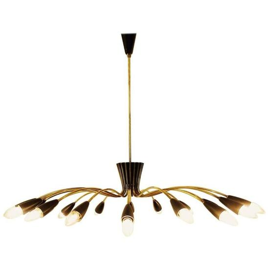 Elegant 1960s Italian Chandelier in Brass and Black Lacquer