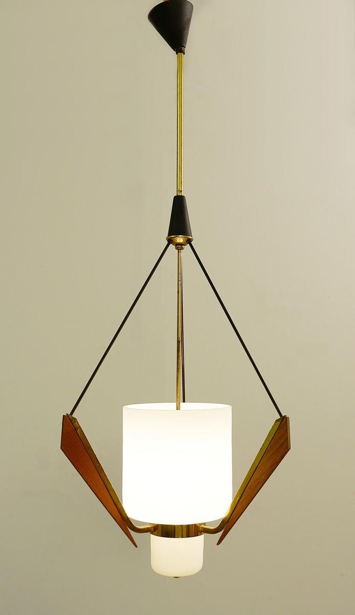Italian Opaline Glass Wood Brass Ceiling Lamp 1960s Ceiling Light Lighting Watteeu