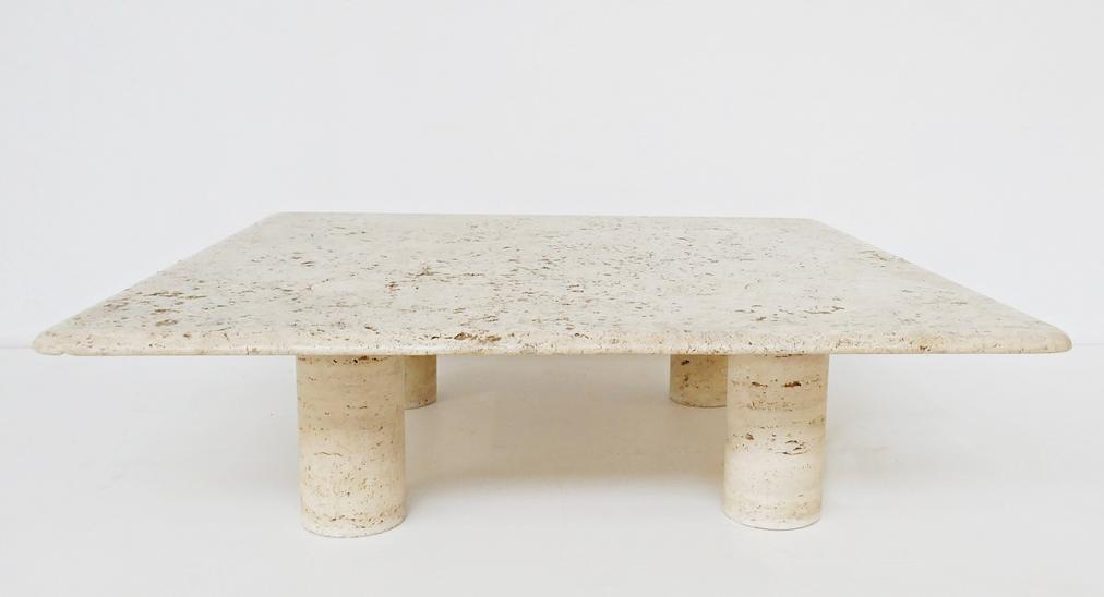 Large Travertine Coffee Table By Angelo Mangiarotti For Up&Up, Circa 1970, Italy