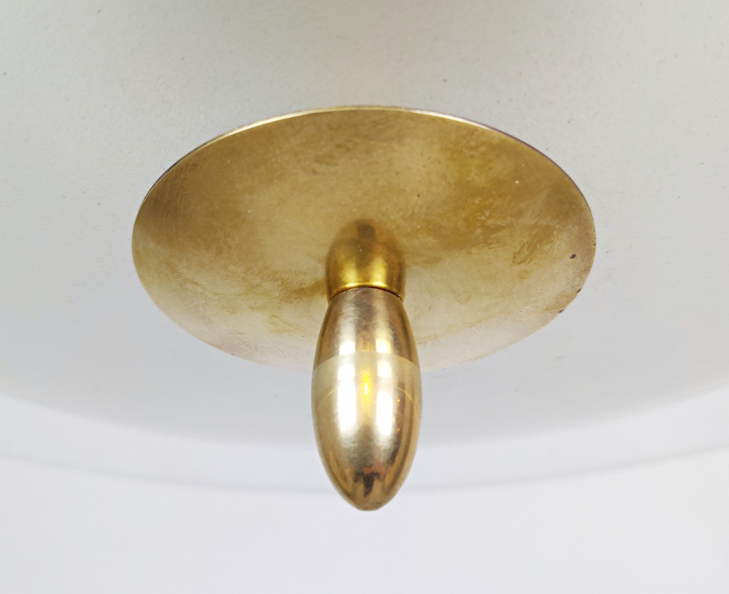 Mid Century Pendant Light In Glass And Brass Galerie Watteeu Recent Added Items European Antiques Decorative