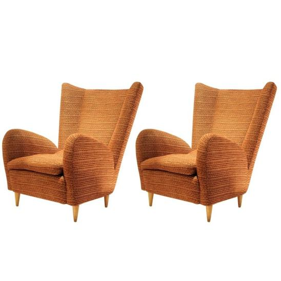Pair of Armchairs Attr. to Paolo Buffa, Robert Allen Upholstery, Italy, 1950