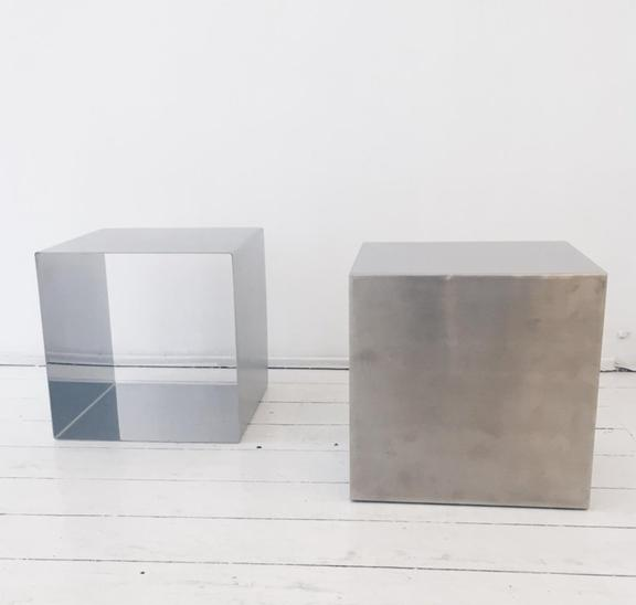Pair of Cube Coffee Tables by Maria Pergay, France, 1960