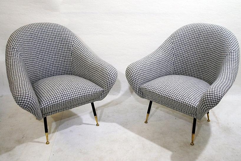 Pair of Italian Armchairs c.1950, New Upholstery