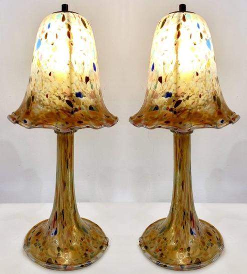 Pair Of Mushroom Lamps In Glass Paste, Europe, 1960