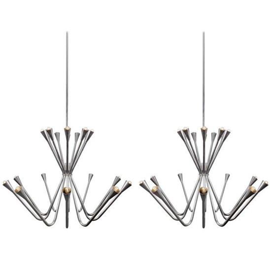 Pair of Oversized 1960s Chrome Chandeliers