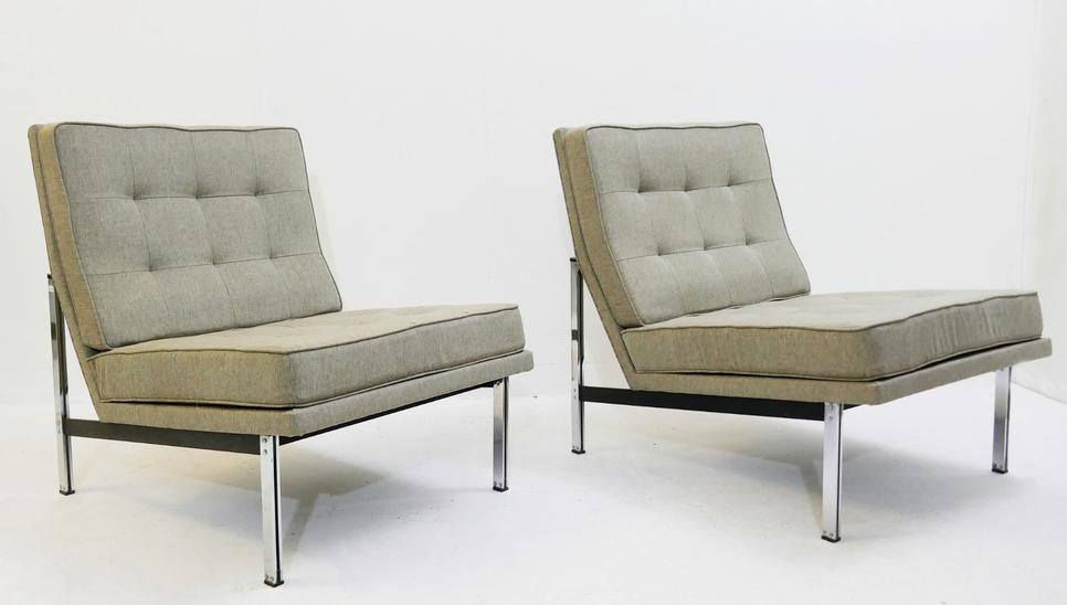 Pair Of Parallel Bar Lounge Chairs By F. Knoll, 1959s - New Upholstery -2 Pairs Available