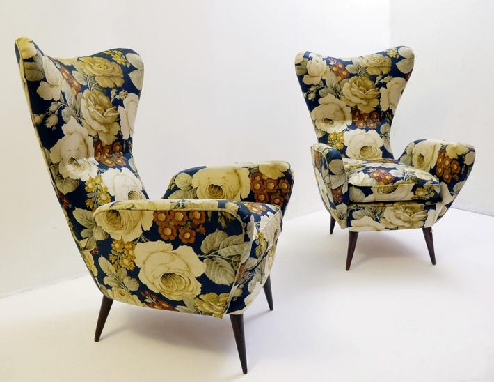 Pair of Two Italian Armchair 1950's, Original Upholstery
