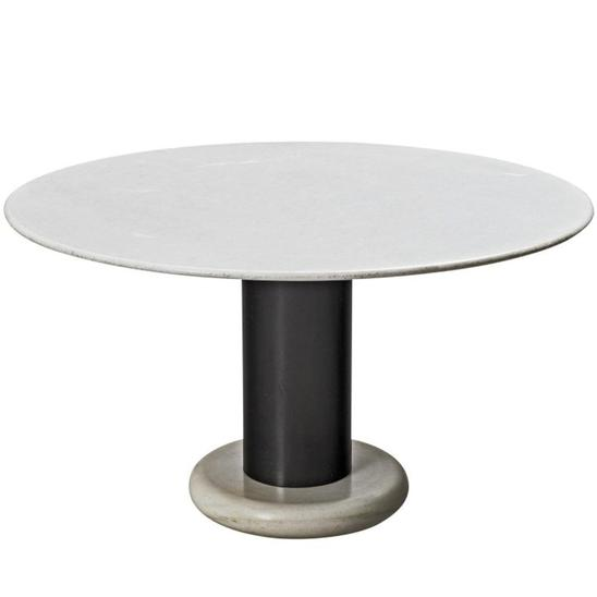 Pedestal Table in Carrara Marble Table by Ettore Sottsass, Italy