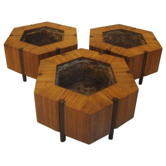 Planters by Jules Wabbes Hexagonals in Light Wood, circa 1968-1969