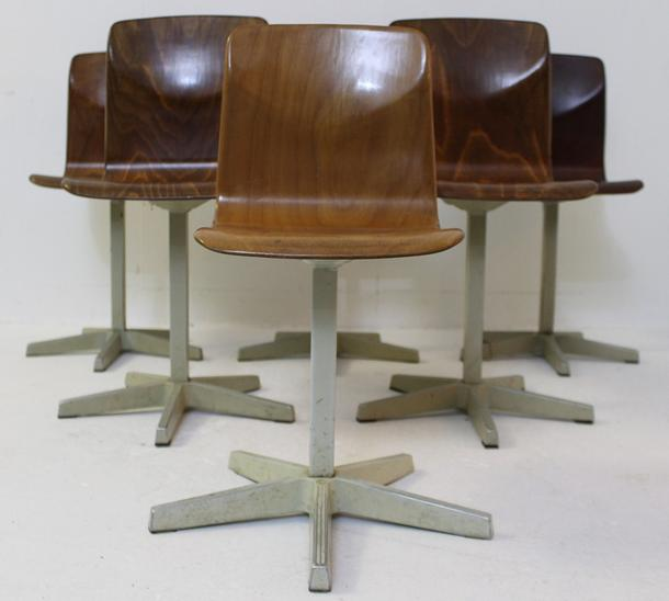 Set Of 6 School Chairs child model 'Pagholz' By Elmar Flöttoto, Germany 1960s