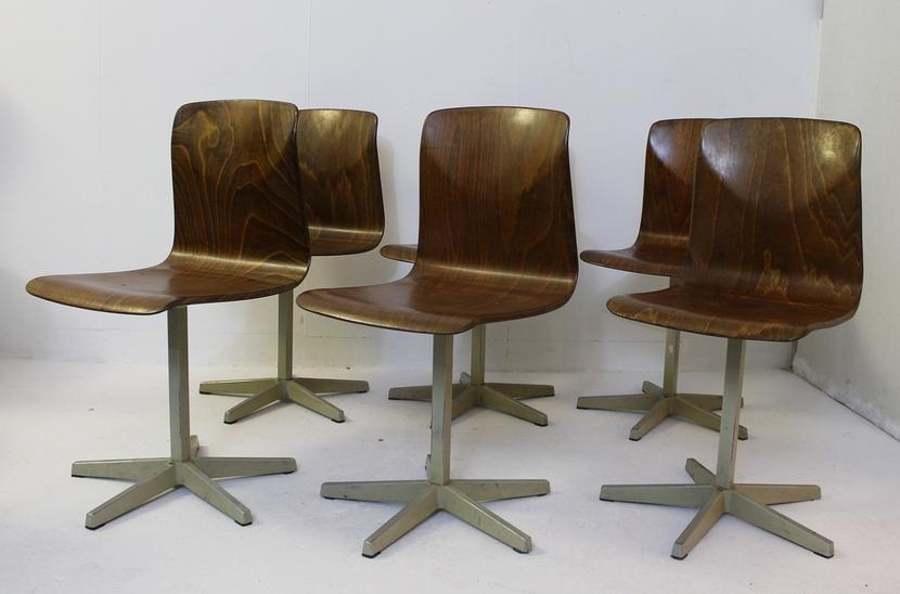 Set of 6 school chairs model 'Pagholz' by Elmar Flöttoto, Germany 1960s