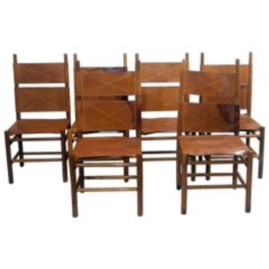 Set of 6 Walnut and Cognac Leather Chairs by Carlo Scarpa for Bernini, Late 20th Century