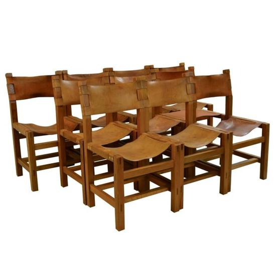 Set of Ten Solid Elm and Cognac Leather Chairs by Maison Regain