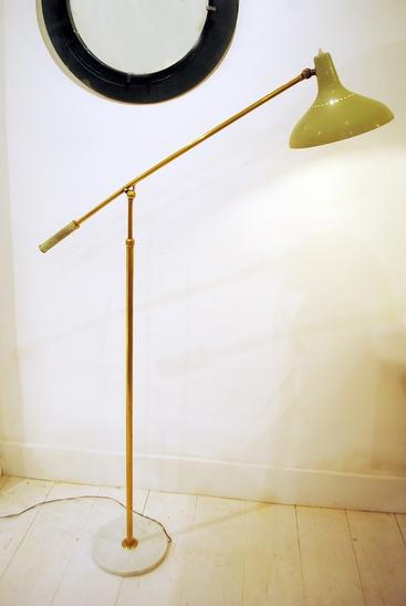 Stilnovo, Adjustable Floor Lamp Brass and Marble, Italy 1950's