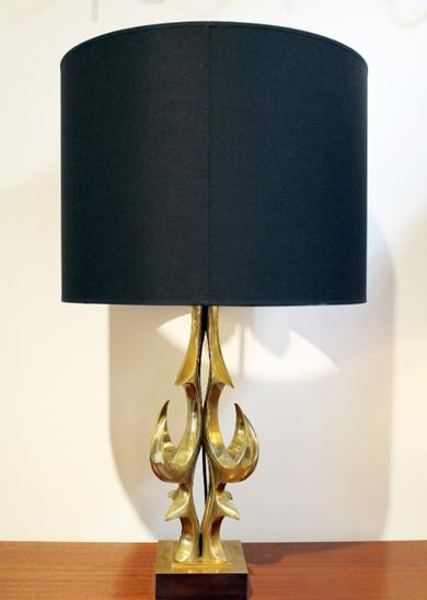 Table Lamp in Gilt Brass by Willy Daro - Black/Gold Lampshade