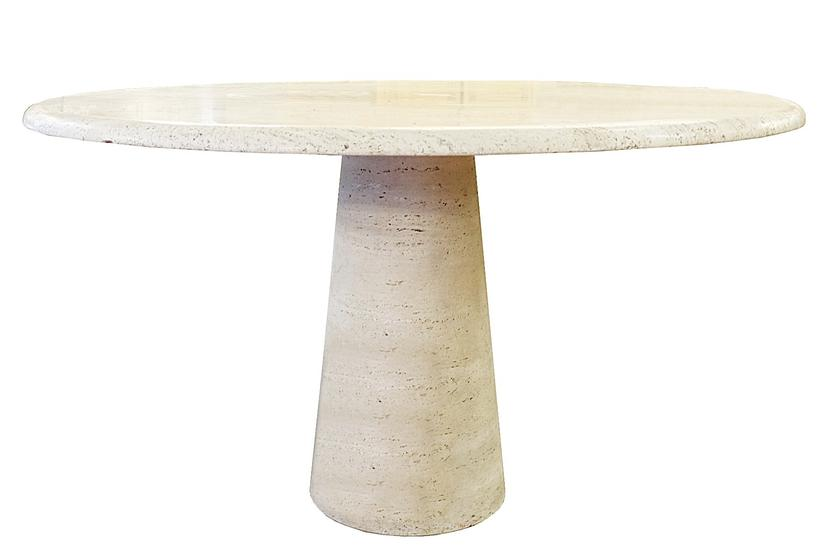 Travertine Circular Dining Table In The Style Mangiarotti