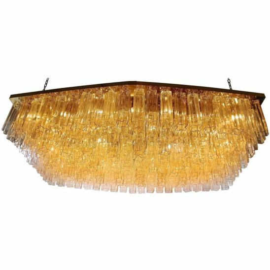 Tronchi Chandelier in Murano Glass, circa 1970